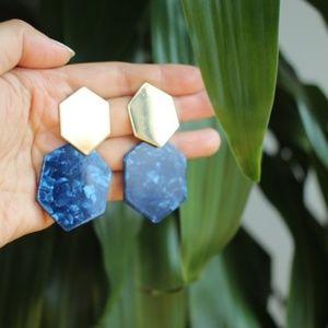 New Tortoise Marble gold Geometric Dangle earrings